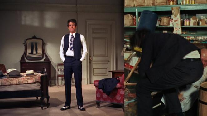 Left: Warren Beatty trying on various parts of his costume. Note the hats on the bed and the suit coat over the chair. Right: Beatty's pants in action.