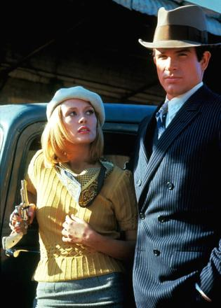 Faye Dunaway and Warren Beatty as the title characters in Bonnie and Clyde.
