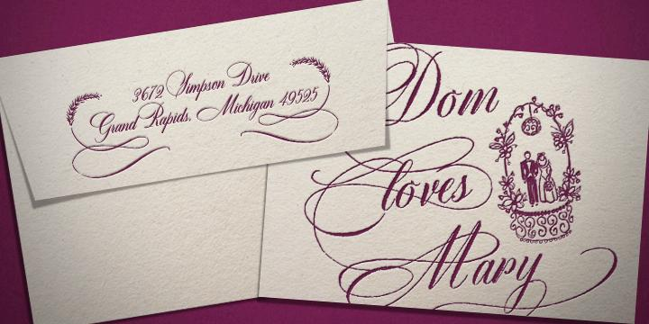 Wedding Invitation With Dom Loves Mary Calligraphy Font In