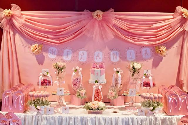 Bows and Pink Roses Themed Table for Milanis 1st Birthday and