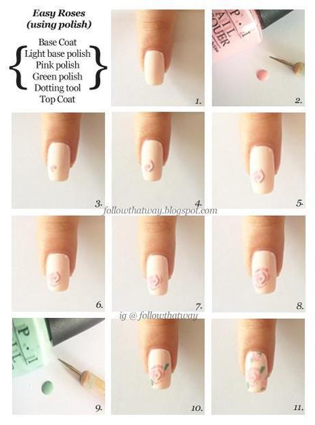 rose nail art ideas, rose nail, beautyfoodlife.blogspot.com,rose nail tutorial