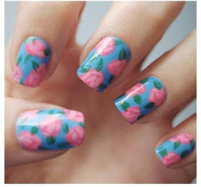 rose nail art ideas, rose nail, beautyfoodlife.blogspot.com