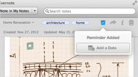 Evernote gets update comes with the reminder function