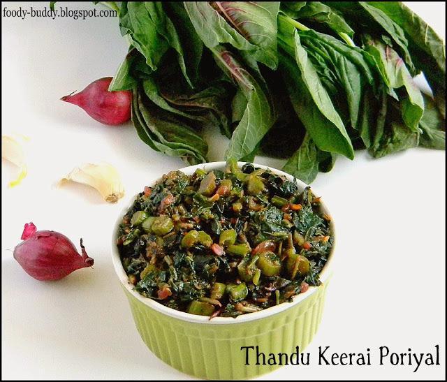 Thandu Keerai / Mulai Keerai Poriyal  (Red Amaranthus Stir Fry)