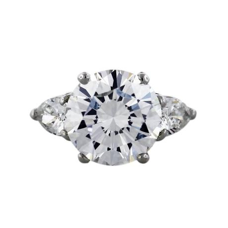 5 carat round diamond ring set in platinum with 1 ctw pear shaped diamonds