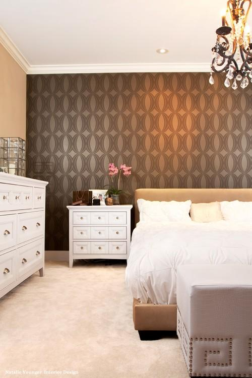 Decorating the wall behind your bedroom headboard paperblog for Wallpaper for wall behind bed