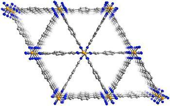 This view of the molecular structure of the MOF shows the triangular channels that run through the material. The walls of these channels trap the lower-octane components of gas while allowing the higher-octane molecules to pass through, potentially providing a more efficient and cost effective way to refine high-octane gasoline. (Credit: Science/AAAS)