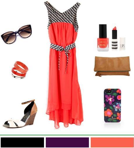 Summer Style: Coral hi-low hem dress w/ camel accessories.