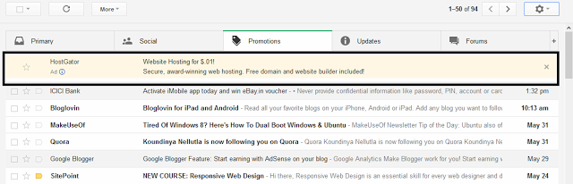 Ads in new Gmail interface which looks like an email
