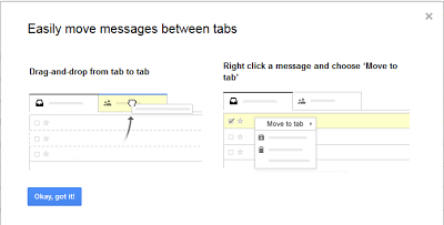 Drag and drop to move mails from one tab to another