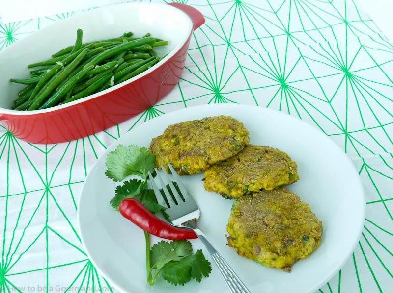 Crushed chickpea, chilli and coriander patties with lemon and warm spices