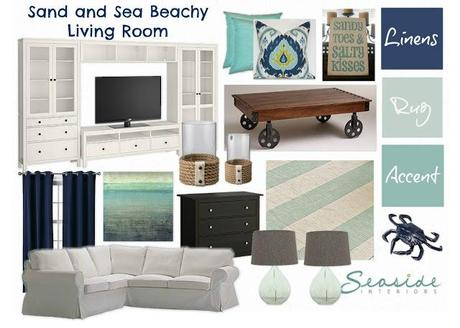 Mood Board Link Party: Sand and Sea Beachy Living Room