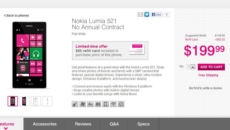 50 refill card with every purchase of nokia lumia 521 for T mobile refill