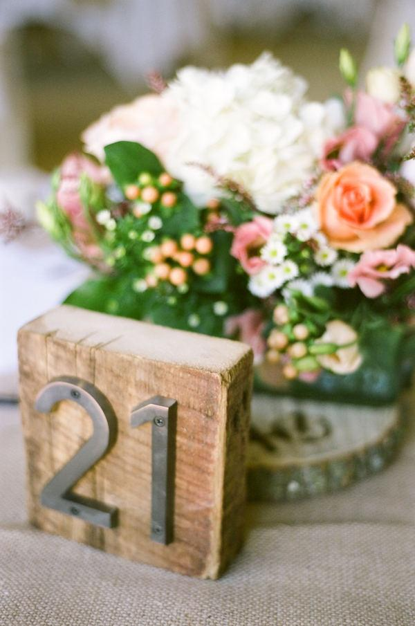Rustic Wood And Metal Table Number