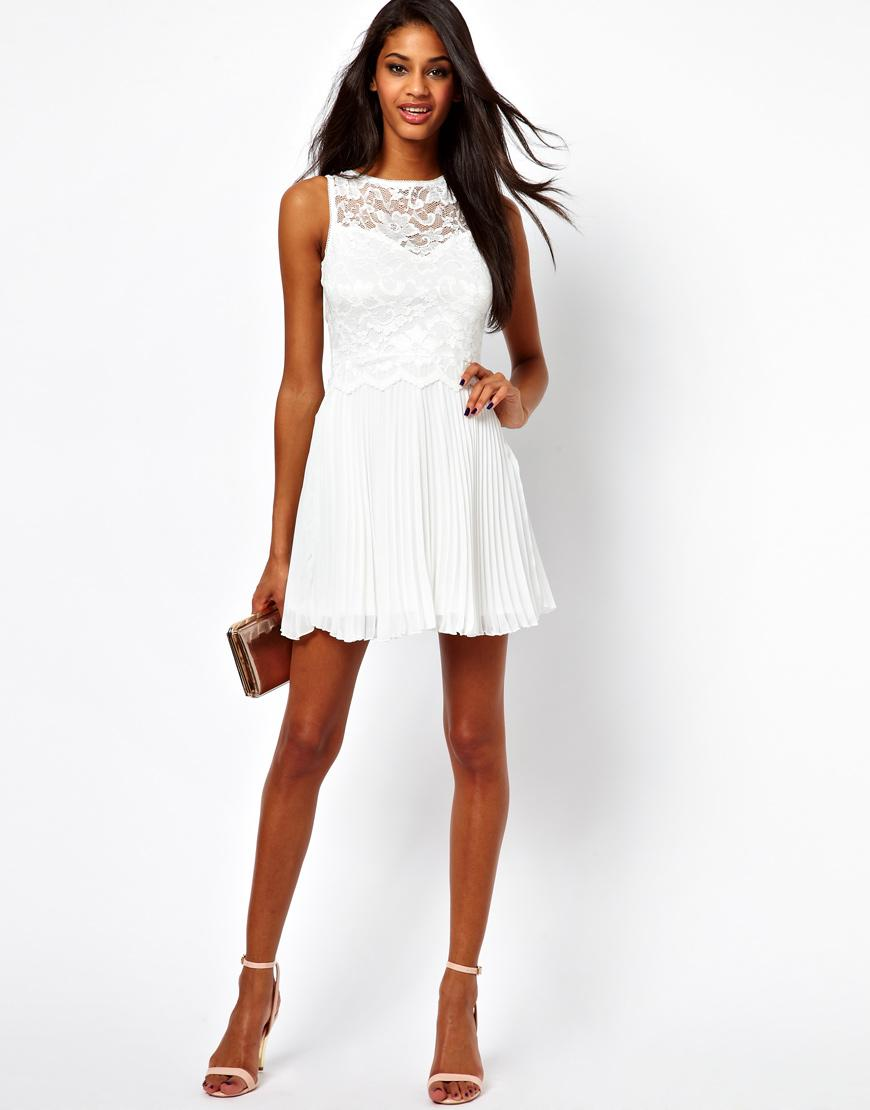 Elise Ryan Lace Skater Dress with Pleated Skirt, second wedding dress, little white dress