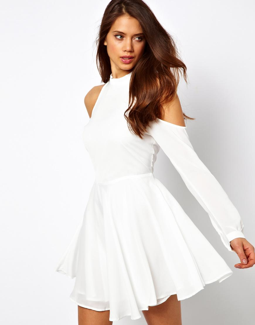 True Decadence Skater Dress with High Neck and Cold Shoulder, cutout dress