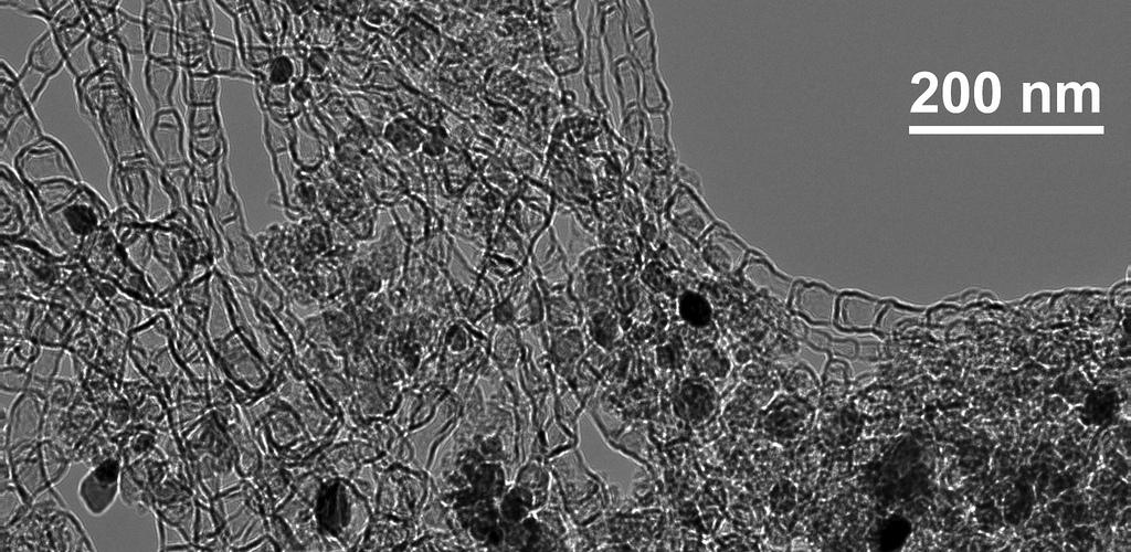A high-resolution microscopic image of a new type of nanostructured-carbon-based catalyst developed at Los Alamos National Laboratory that could pave the way for reliable, economical next-generation batteries and alkaline fuel cells. (Photo credit: Los Alamos National Laboratory)