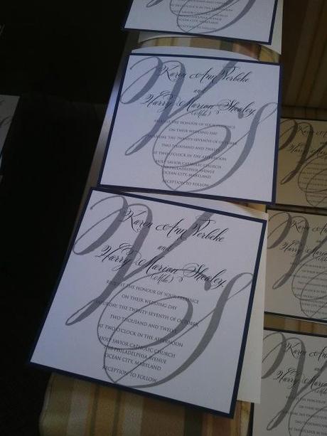 wedding invitation, invitation suite, Bev Verbeke, Bellucia font, calligraphy font, Belluccia with block text,Bellucia and block text, large script initials, Debi Sementelli, Lettering Art Studio,