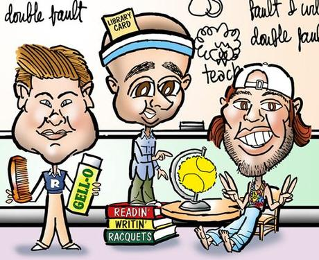 caricatures of American tennis stars Andy Roddick, James Blake, Robby Ginepri