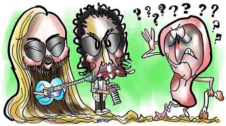 caricatures of rock musicians Walter Becker and Donald Fagen of group Steely Dan shown with deaf human ear using waxy cotton swab as cane