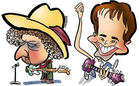 caricature of singer Bob Dylan and television talk show host, comedian, and singer Jimmy Fallon