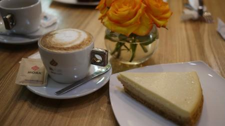coffee and cake at green bean Yerevan