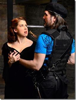 Katie McLean Hainsworth and Chris Hainsworth in Three Musketeers at Lifeline Theatre.