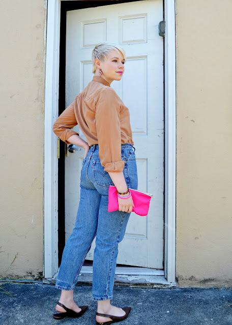 neon pink, levi's, silk, vintage dior, vintage, banana republic, blonde pixie cut, in style, spring 2013