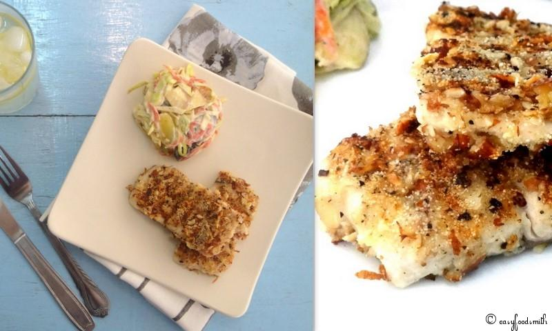 NUT CRUSTED GRILLED FISH w/ FRUIT COLESLAW