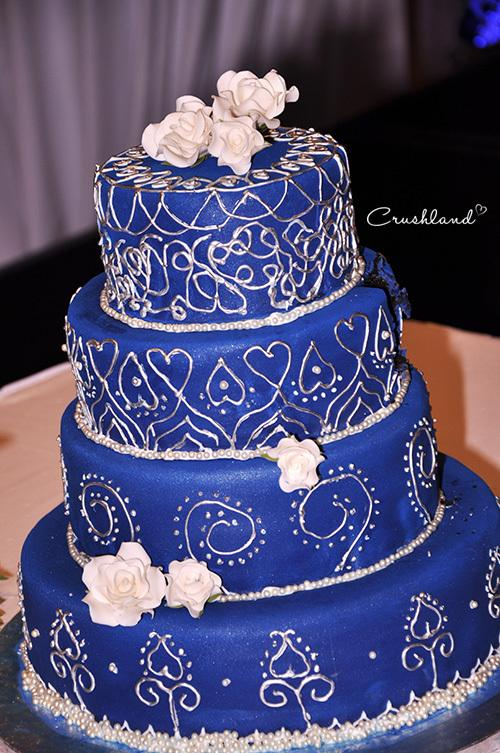 Royal Blue And White Lace Dress