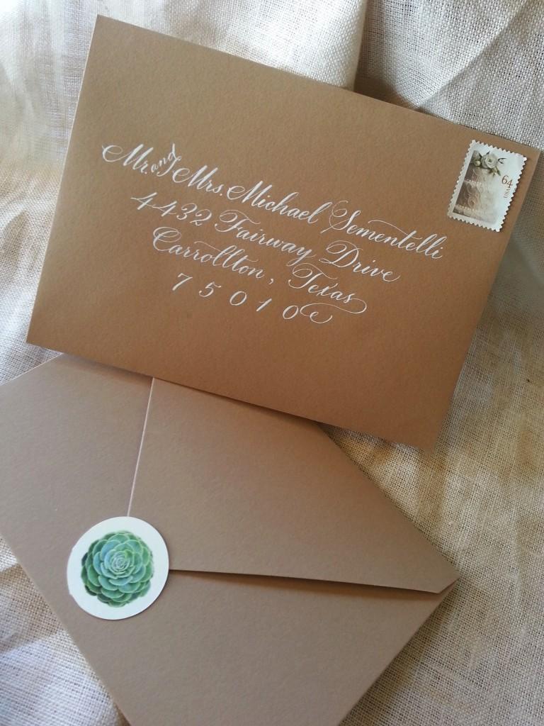 Succulent Wedding Invitation in Kraft Pouch - Paperblog