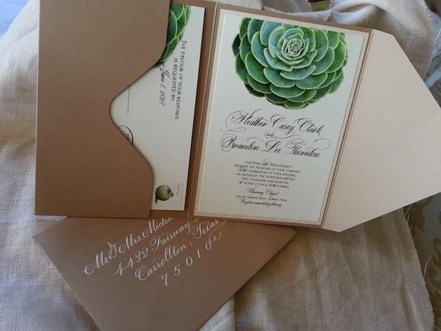 Succulent Wedding Invitation In Kraft Pouch