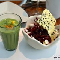 Green Gazpacho with beet root salad