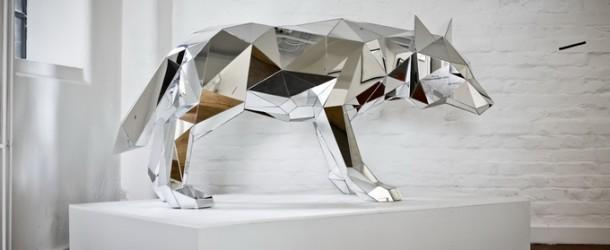 Mirrored Geometric Wolf Sculpture by Arran Gregory