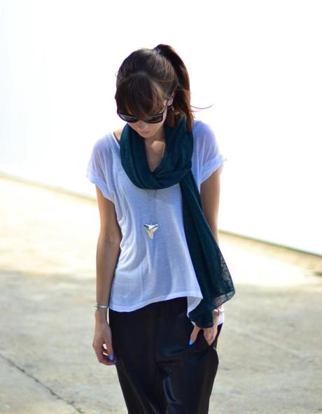 slouchy sheer t-shirt and scarf