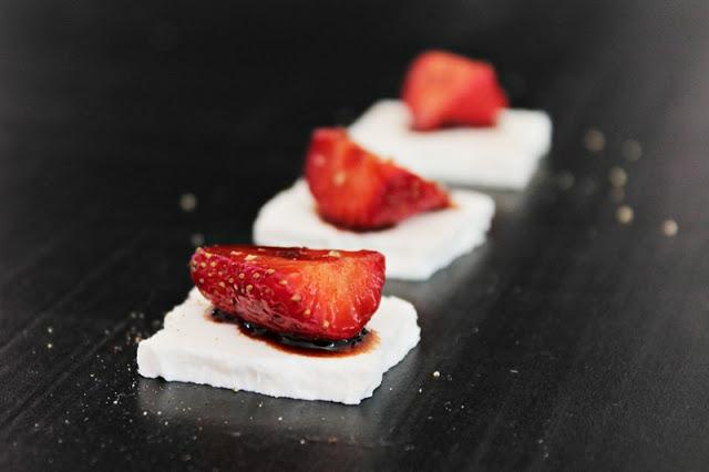 Strawberries with balsamic vinegar & goat cheese #90