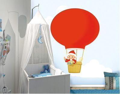 Photo Wall Mural - adhesive Little Sandman In A Hot Air Balloon