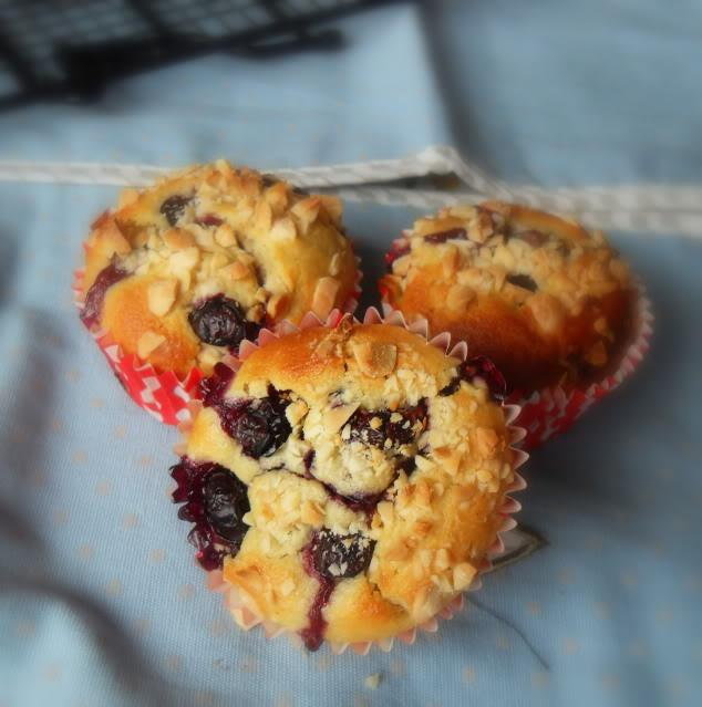 Warm Blueberry And Almond Breakfast muffins