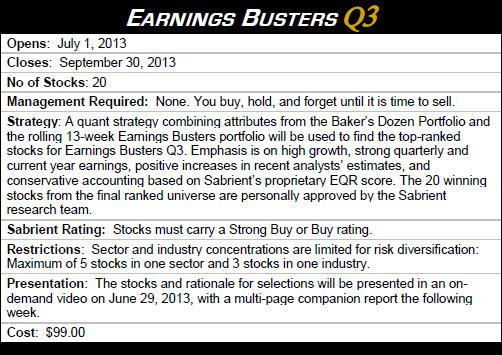 Sabrient's Earnings Busters