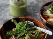Yogurt Tomato Pesto Dressed Veggie Salad