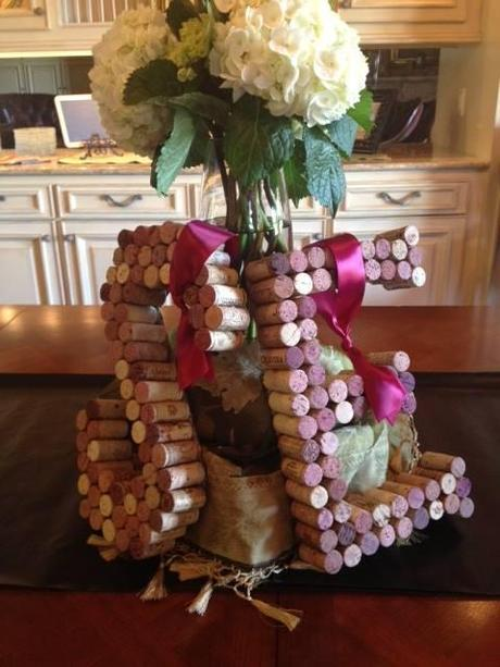 couples bridal shower,  initlas made of wine corks, wine themed bridal shower
