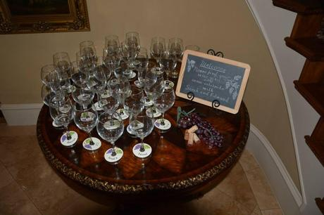 couples shower, couples bridal shower,  personalized name tags on wine glasses, chalkboard signs