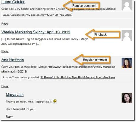 Wordpress trackback in comments