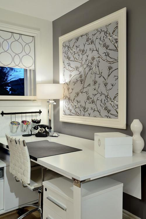 contemporary home office Make A Decorating Statement With Fabric HomeSpirations