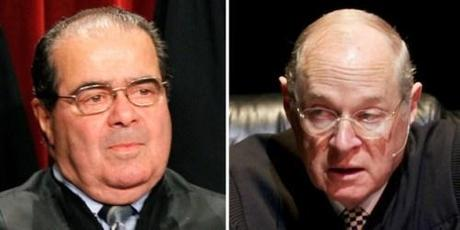 Supreme Court Justices Antonin Scalia and Anthony Kennedy (AP Photos)