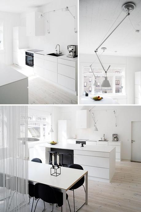 An apartment in white and wood in Denmark