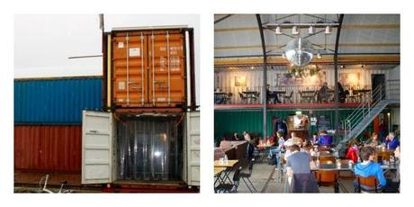 have dinner in Pllek, a shipping container in Amsterdam