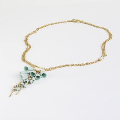 Ruth Tomlinson Flora gold and silver chain with porcelain necklace
