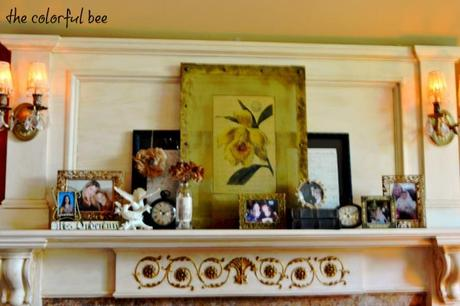 antiqued mantle with cherished family photos