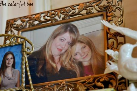 Pictures of mothers and daughters on a fireplace mantle
